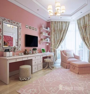 01 shmidt studio interior design dizayn interera minsk contemporary style kids room pink rozovaya detskaya komnata v stile ardeko glamur barbi