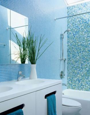 голубые ванные комнаты