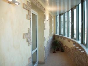 Artificial stone in the interior balcony