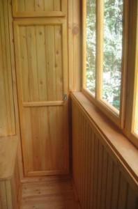 Balcony glazing wooden frames