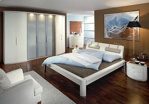 Bedroom interior with white furniture