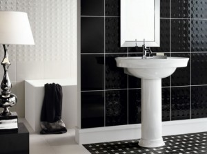 Black tiles in the bathroom decoration