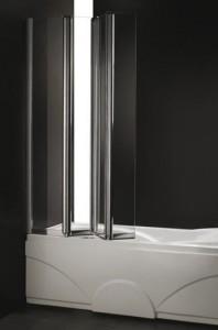Folding glass curtain on the bath
