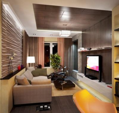 Living room interior design in brown