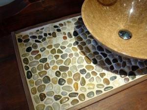 Pebbles in the interior of a bathroom