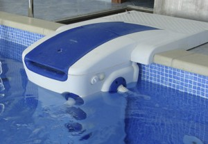The water filtration system in the pool