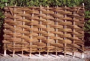Wicker fence of twigs
