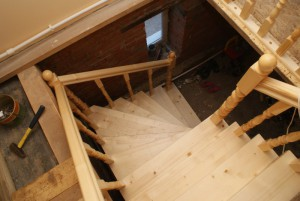 Wooden stairs to the second floor