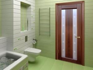 better to put the door in the bathroom