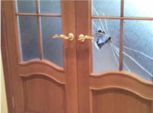 broken glass in the door
