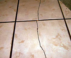 cracked tiles in the bathroom