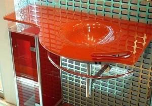 glass furniture in the bathroom