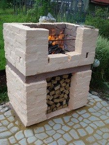 smokehouse and braziers with their hands